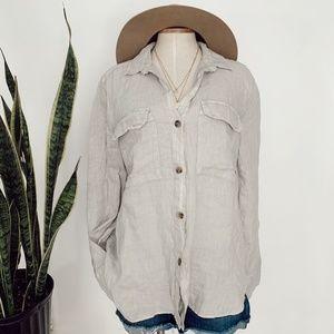 • ZARA • NWT cream tan linen button down top